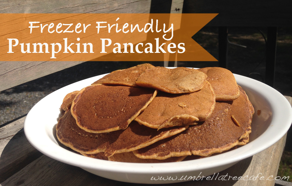 Freezer friendly pumpkin pancakes! My son's favorite!
