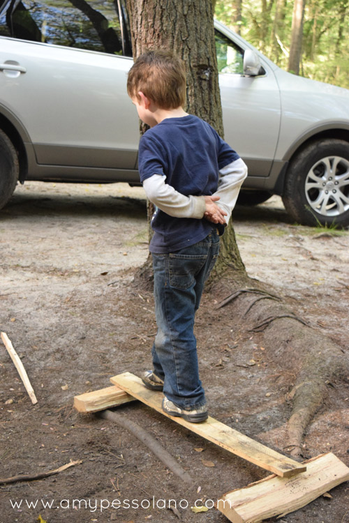 Use wood to make a balance beam, or practice walking on logs.
