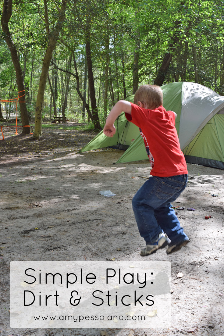 Simple Play ideas for the campsite that involve dirt and sticks