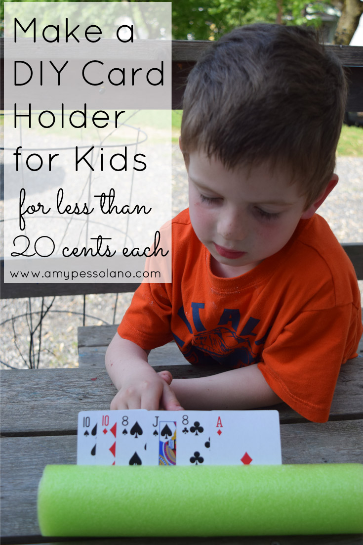 A really simple DIY Card holder for kids, that's cheap too!