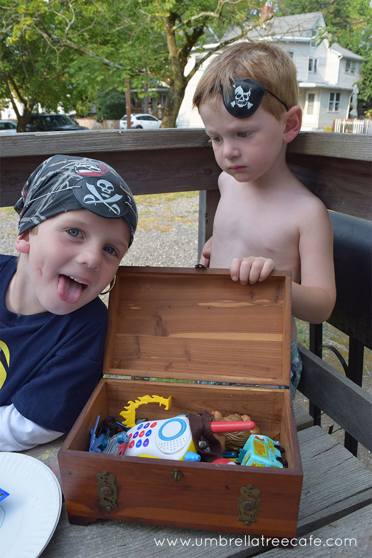 Showing off their pirate treasure